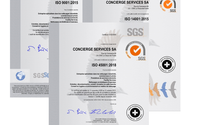 Nous sommes fiers de vous annoncer notre re-certification selon : ISO 9001, 14001 et 45001.